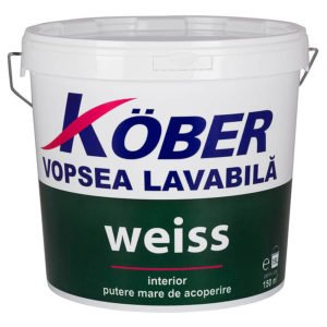 Vopsea lavabila Weiss 15L Kober
