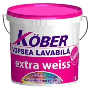 Vopsea lavabila pt Extra Weiss 15L Kober