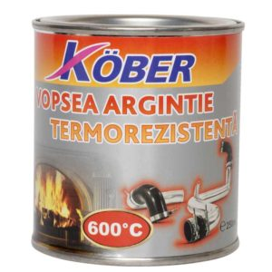 Vopsea termorezistenta argintie 0 . 25l Kober